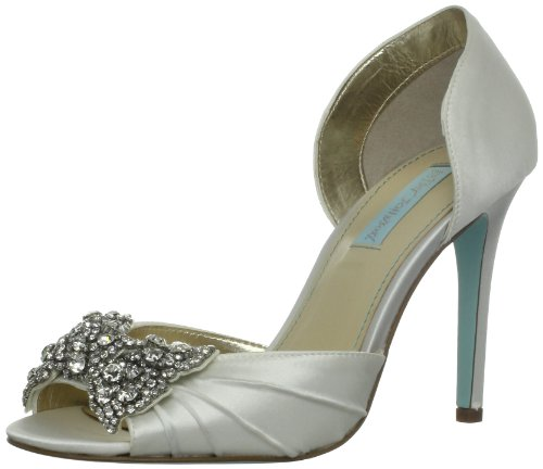 Blue by Betsey Johnson Women's Gown Pump,Ivory Satin,8 M US