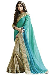 west turn new latest trend of beautiful firozi saree with georgette fabric and embroidered work with sequence