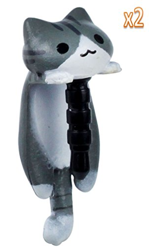 Niceeshop 2 Pack Gray Cheese Tabby Cat Universal 3.5Mm Anti Dust Earphone Jack Plug Cap For Iphone4/4S/5,Ipod,Ipad,Htc,Samsung