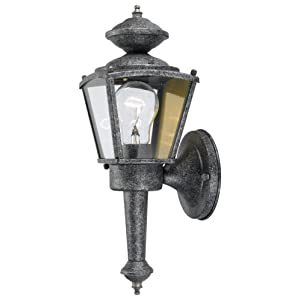 Click to buy Outdoor Wall Lighting: Hardware House 544197 13-1/2-Inch by 4-1/2-Inch Outdoor Lighting Fixture Antique Silver from Amazon!