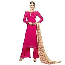 Admyrin Women Magenta Georgette Dress Material
