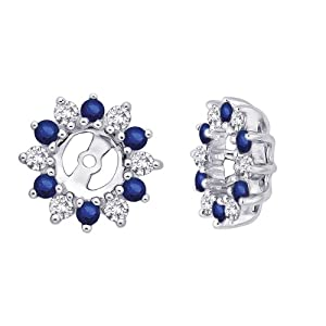 14K White Gold 1/4 ct. Diamond with Alternating 3/8 ct. Sapphire Earring Jackets
