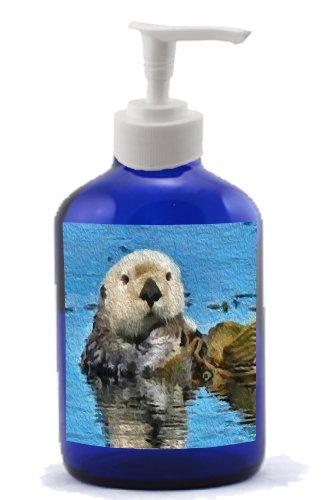 Ollie - Sea Otter -Cobalt Blue Glass Soap-Lotion Dispenser front-28930
