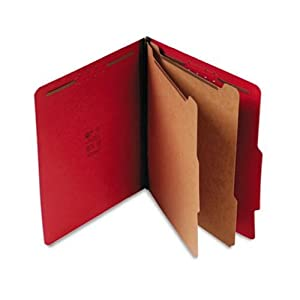 S J Paper S60407 S J Paper Expanding Classification Folder, Letter, 6-Section, Ruby Red, 15/Box