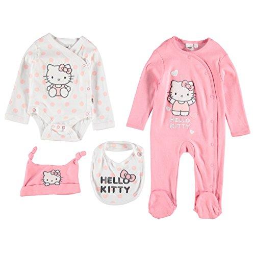 character-kinder-baby-4-teile-set-strampler-schlafanzug-muetze-latz-geschenkset-hello-kitty-0-3-mnth