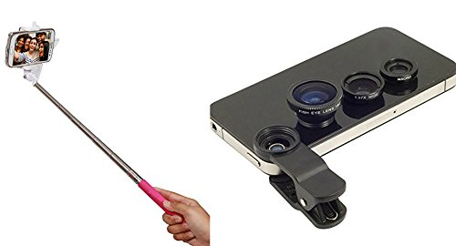 Totelec PGS Combo Series of Selfie Stick via Aux Cable + Universal Camera Lens ki...