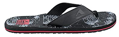 Reef Mens HT Prints Sandal Black/White Hawaii Size 7