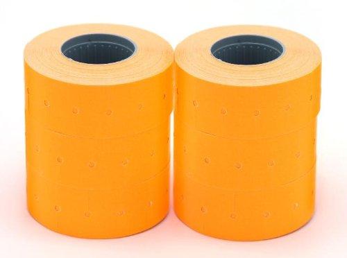 AGIPA Lot de 6 rouleaux de 1000 étiquettes enlevables 21x12 orange fluo rectangulaires