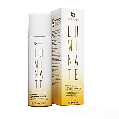 BODY SHIMMER, Luminate SHINE SPRAY HAIR and BODY GOLDEN GLITTER , for a perfect EXTRA GLOW, flawless SPARKLE, fast drying, ANTI AGING, with KUKUI extract,Vitamin A,C,E, Hydrate 3.5 fl oz