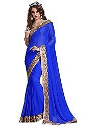 Daksh Enterprises Women's Georgette Saree (2111, Blue)
