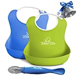 PREMIUM Reuseable Silicone Baby Bibs - Hassle Free, Safe & Practical For Boys and Girls - BONUS Silicone Serving Spoon - Blue/Green