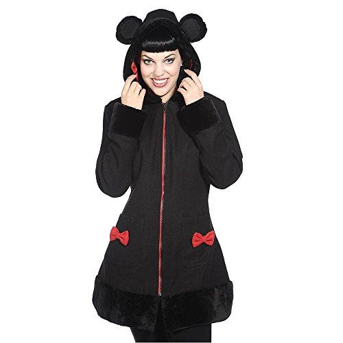 Banned-Cappotto da donna Übergangsmantel con cappuccio-Mimi Coat Nero Con Orecchie nero XL
