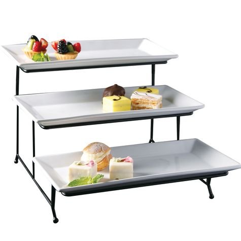 Perlli 3 Tier Rectangular Serving Platter- Three Tiered Cake Tray Stand- Food Server Display Plate Rack For Finger Food, Appetizers, Treats And More- Elegant White Cake Display Great For Every Party (Dessert Dishes Serving compare prices)