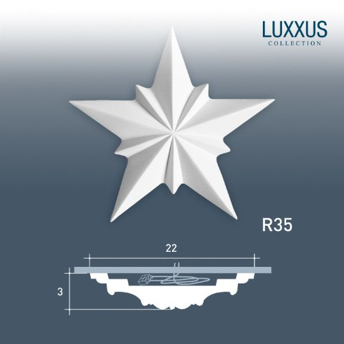 ORAC R35 Ceiling Rose Rosette Medallion Centre Decor high quality polyurethane star shaped | 22 cm = 8.58 inch diameter