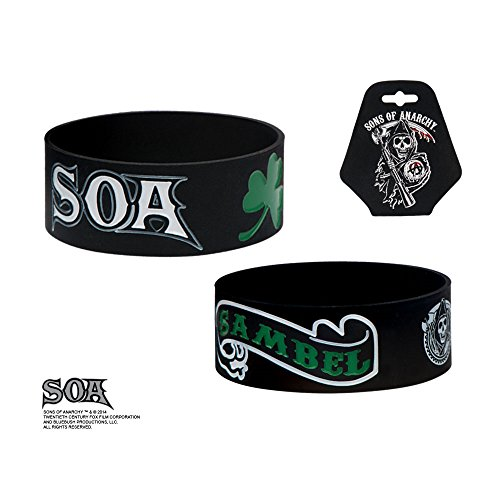 Sons of Anarchy SOA Silicone Rubber Green Sambel Banner and Clover Bracelet