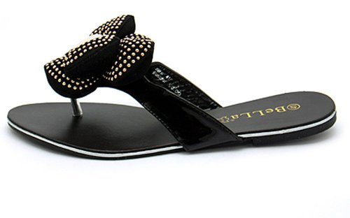 New Ladies Summer Flats With Flower Embellished Thong Sandals Womens Size