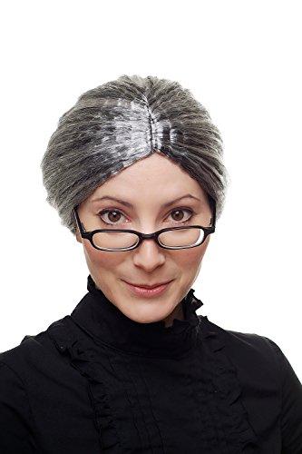 Wig Me Up - Parrucca Da Carnevale, Nonna, Governante, Zia Delle Fiabe, Nero+ Ciocche Grigie, Austera, 69020-P103-68