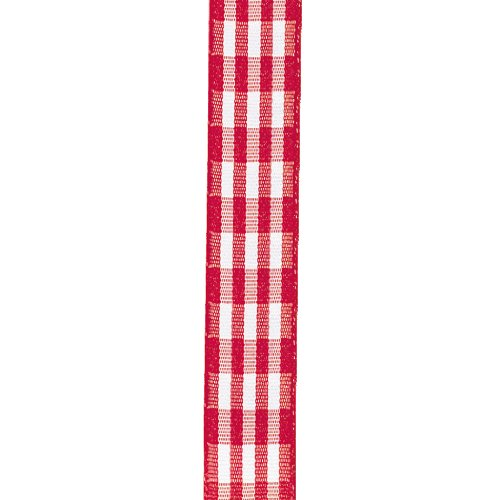 Offray Taffeta Gingham Check Craft Ribbon, 7/8-Inch Wide by 10-Yard Spool, Red