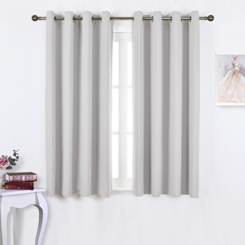 NICETOWN Window Treatment Thermal Insulated Grommet Room Darkenining Curtains / Drapes For Bedroom (2 Panels,52 by 63,Greyish White) (Window Curtains Bedroom compare prices)