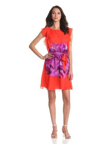 Ali Ro Women's Printed Silk Chiffon Dress, Purple Passion Multi, 4
