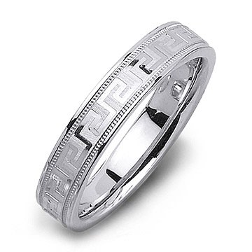 14K White Gold Milgrain Fancy Mens Wedding Band Ring