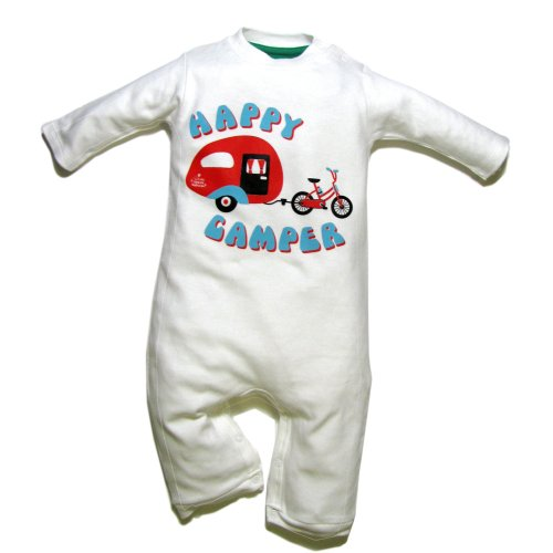 Little Green Radicals Happy Camper Organic Cotton Playsuit