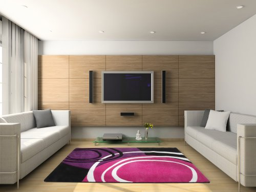 Moderner Designer Velours Teppich Lila Fuchsia Schwarz Weiss Muster, Grösse:120×170 cm