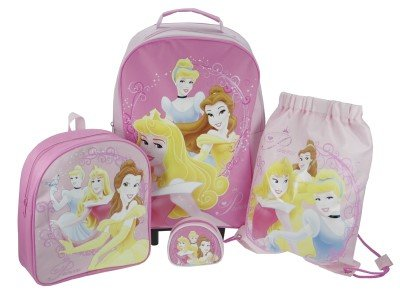 Trade Mark Collections Disney Princess Travel Set includes Wheeled Bag/ Backpack/ Trainer Bag/ Purse (Pink) from Trade Mark Collections