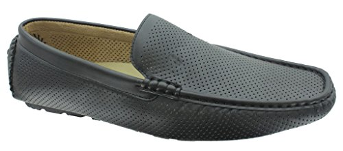 Aldo Rossini Men's Leo-1 Vegan Leather Perforated Slip-On Loafers Driving Shoes