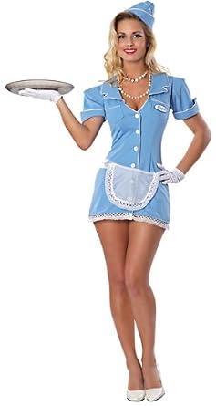 Delicious Women's Check Please Sexy Waitress Costume, Blue, X-Small/Small