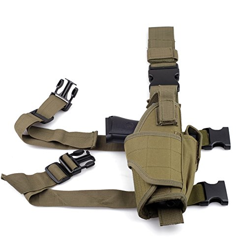 Cisno Drop Leg Adjustable Right Handed Tactical Thigh Pistol Gun Holster (Army Green) (Army Gun Holster compare prices)