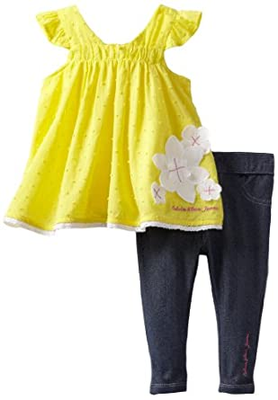 Calvin Klein Baby-Girls Infant Top With Pant, Yellow, 24 Months
