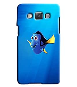 Blue Throat Fish Cartoon Printed Designer Back Cover/ Case For Samsung Galaxy E7