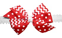 Webb Direct 2U Baby-Girls Chevron & Dotted Bow Stretch Headband Red (5152)