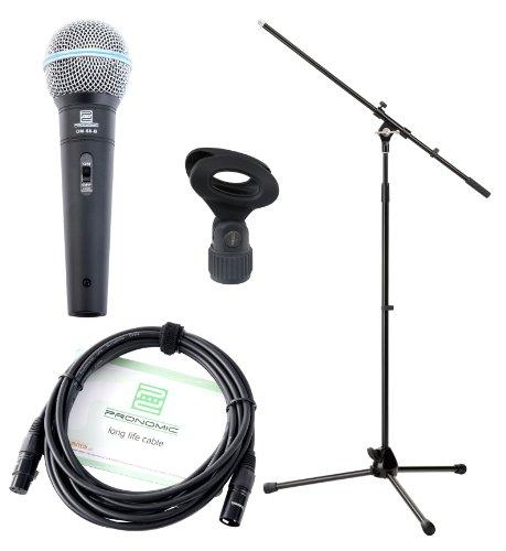Pronomic Vocal Microphone DM-58 -B avec starter set 5x micro avec trépied,