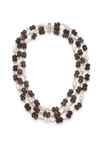 Classic Doublet Style Triple-strand Necklace with White Freshwater Pearls and Chocolate-brown Faceted Beads