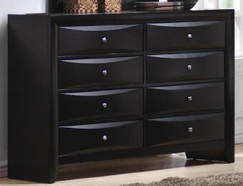 Dresser with Brushed Chrome Accents in Glossy Black Finish