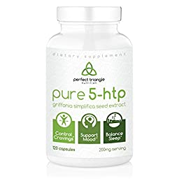Pure 5-htp by Perfect Triangle, 120 Count, 100mg Veggie Capsules, 5-hydroxytryptophan 5htp Griffonia Extract Dietary Supplement, Extra Strength 200mg Serving