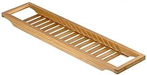 Relaxdays 10013081 Badewannenauflage Bambus mit Gitter 64 cm Länge
