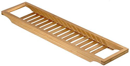 Relaxdays Mensola per Vasca da Bagno, Piana, 4 x 15 x 3.5 cm, Bambù, Marrone