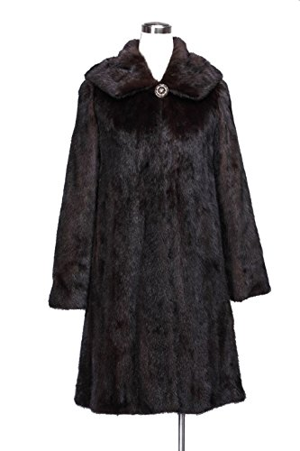 Qiudu Women's Mink Fur Coat Full Pelt With Stand Collar And Belt Coffee-2XL