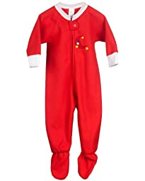 I.C. Collections Baby Girls Red Fleece Footed Warm Sleeper, 09m