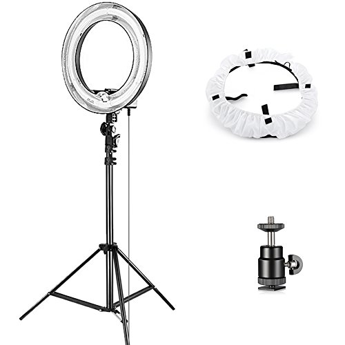 Neewer-Camera-Photo-Studio-YouTube-Vine-Video-Lightning-Kit-14-inches35-centimeters-50W-Dimmable-Ring-Light75-inches190-centimeters-Light-Stand-Diffuser-Soft-Box-Ball-Head-Hot-Shoe-Adapter