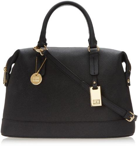 Tommy Hilfiger 6920858 Heritage Flag Tag Saffiano Bowler Top Handle Bag,Black,One Size