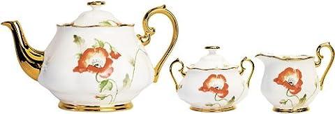 Royal Albert 100 Years 3 Pc Tea Set Poppy 1970 - Royal Albert 1970 Poppy