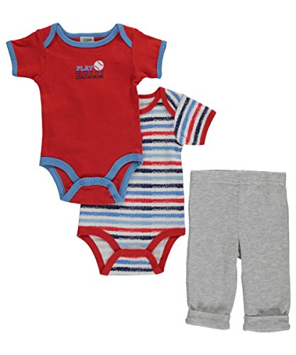 "Baby Gear Baby Boys Infant 3-Piece : Turn Me Around"" Outfit Set, Red Baseball 0-3 Months"