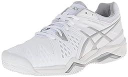 ASICS Women\'s Gel-Resolution 6 Clay Court Tennis Shoe,White/Silver,8.5 M US