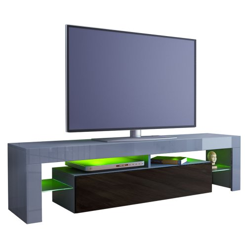 TV Stand Unit Lima in Grey / Black High Gloss Black Friday & Cyber Monday 2014