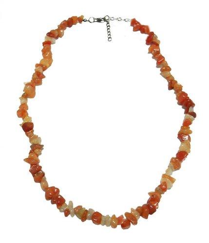 Necklace 45 cm composed of genuine rough carnelian gemstone