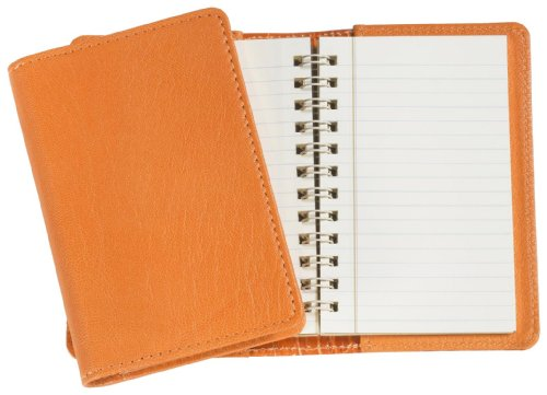 Graphic Image Wire-O-Notebook, Goatskin Leather, 4-Inches, Orange (JS4MRBLGTIORG)